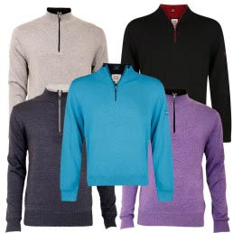 Cutter & Buck Golf Zip Neck Contrast Lined Sweater